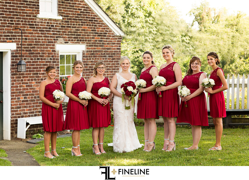 red dresses West Overton Barn FINELINE weddings Greensburg PA