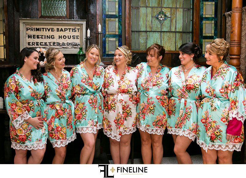 white and blue floral robes for bridal party