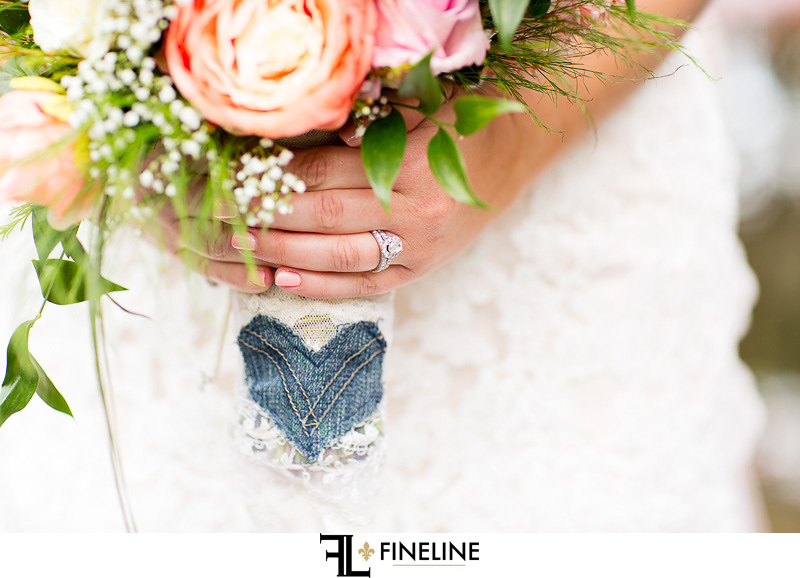 Blue hard on brides bouquet