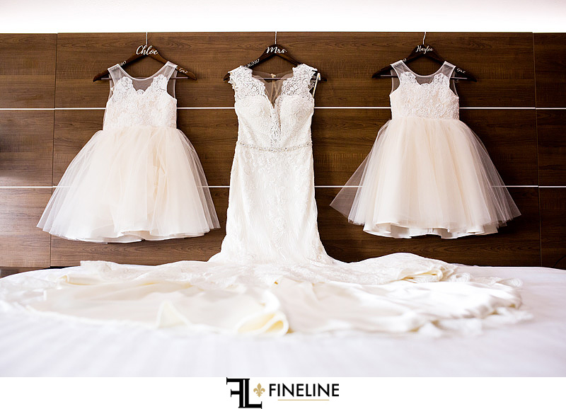 wedding dress and flower girls dresses