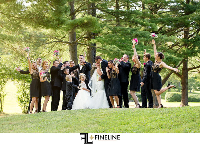 black hot pink and gold  FINELINE weddings Greensburg PA