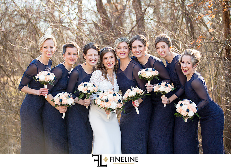 Bridal Party in navy blue
