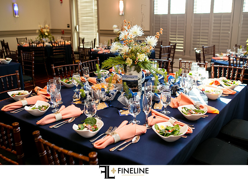 navy blue and pink with forest theme
