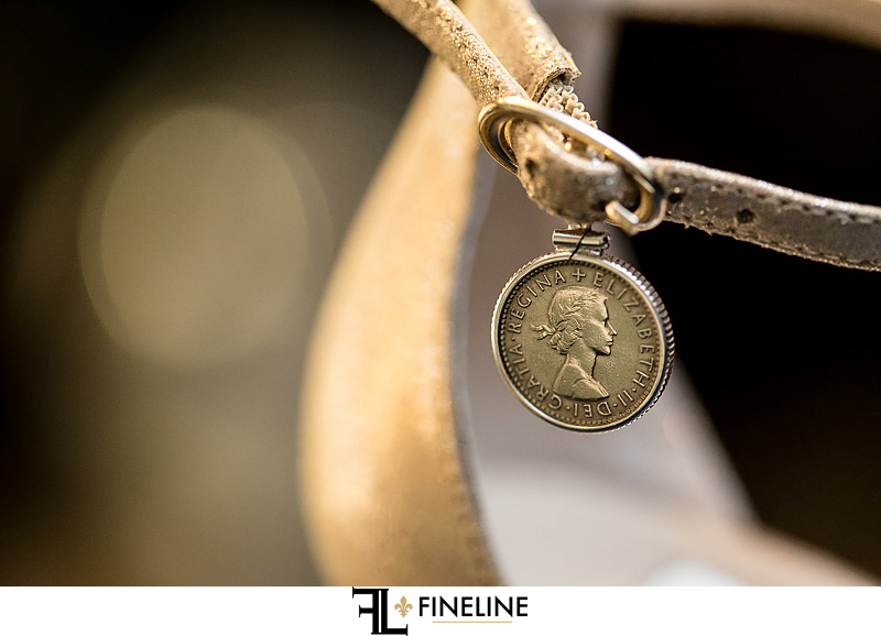 six pence for brides shoe photo by FINELINE Weddings Greensburg, PA