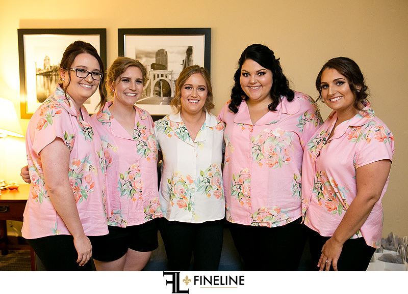 bridesmaids in floral shirts photo by FINELINE Weddings Greensburg, PA
