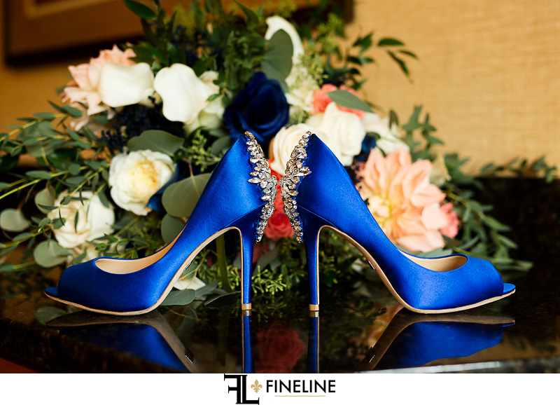 Blue Wedding heels photo by FINELINE Weddings Greensburg, PA