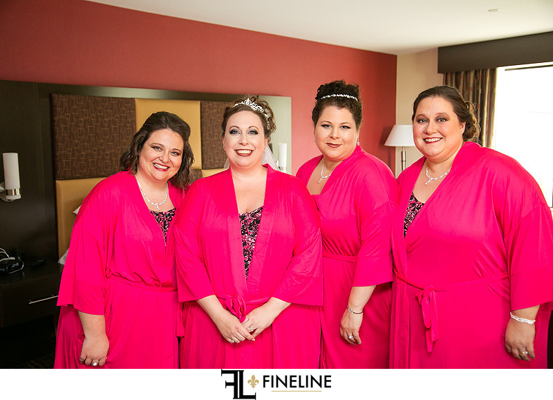 pink robes for wedding party FINELINE weddings Greensburg PA