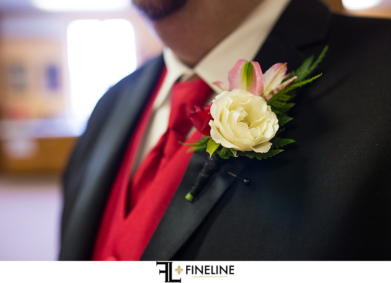 red and white boutonniere FINELINE weddings Greensburg PA