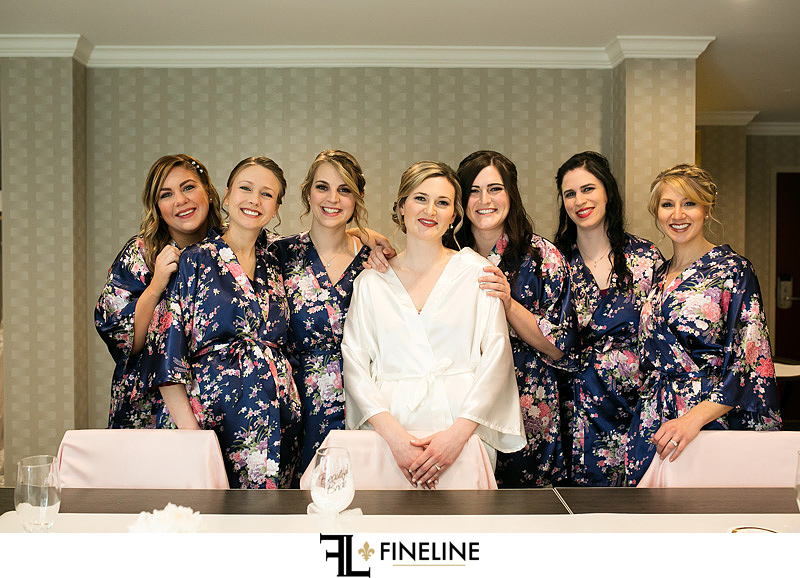 bridesmaids in robes photo by FINELINE Weddings Greensburg, PA