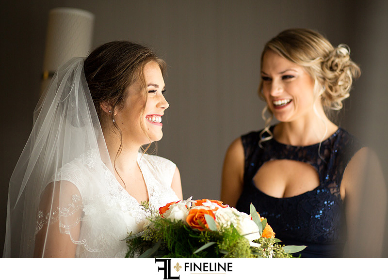 bride with maid of honor photo by FINELINE Weddings Greensburg, PA
