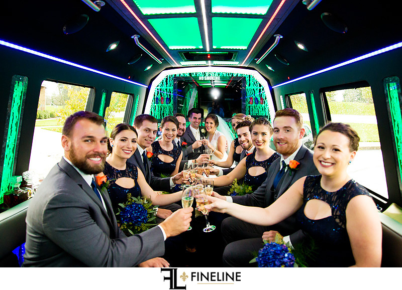 wedding party bus photo by FINELINE Weddings