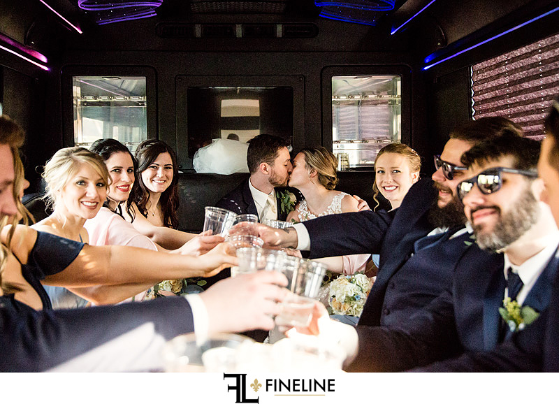 Bridal Party in party bus photo by FINELINE Weddings Greensburg, PA