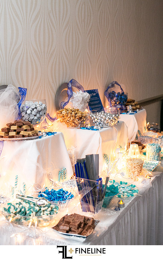 candy table all in blue grey and white