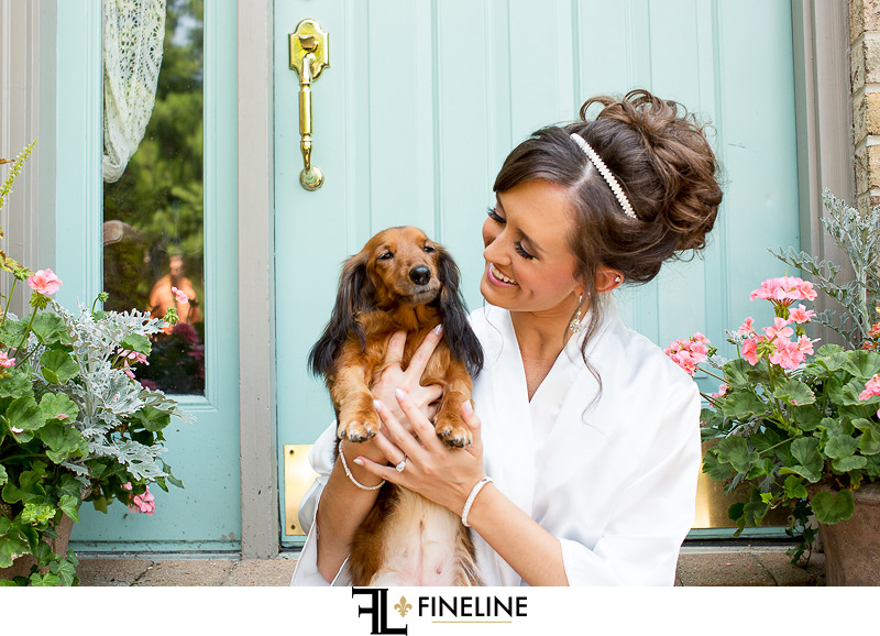bride with dog photo by FINELINE Weddings Greensburg, PA