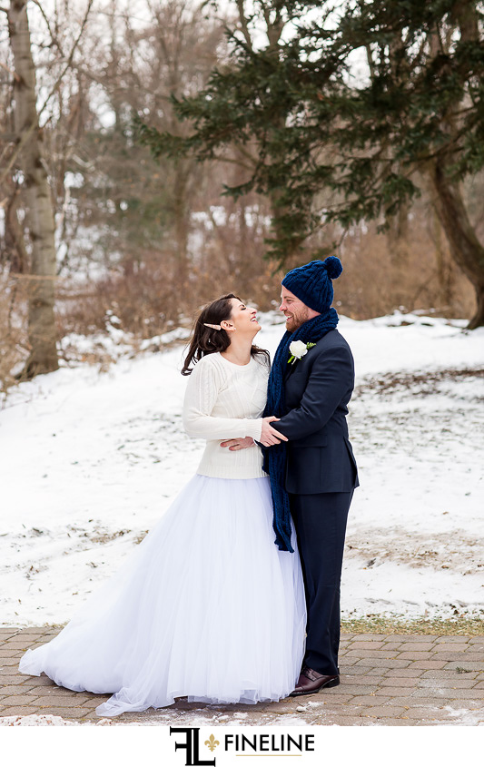 sweater and hat winter wedding