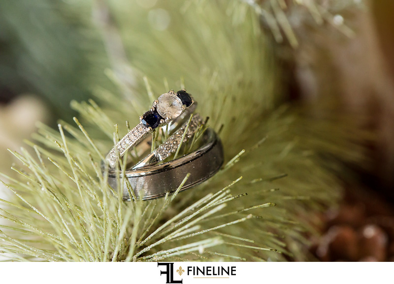 wedding ring with blue saffires