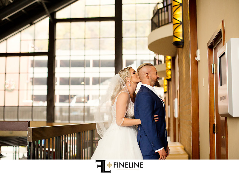 First touch bride and groom photo by FINELINE Weddings Greensburg, PA