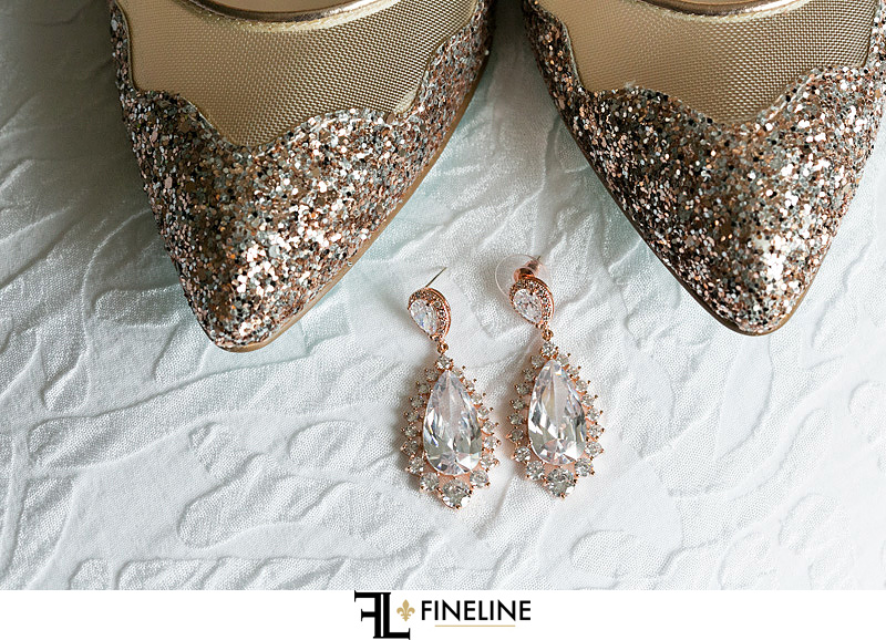 Betsy Johnson wedding shoes and gold accents FINELINE Weddings Greensburg PA
