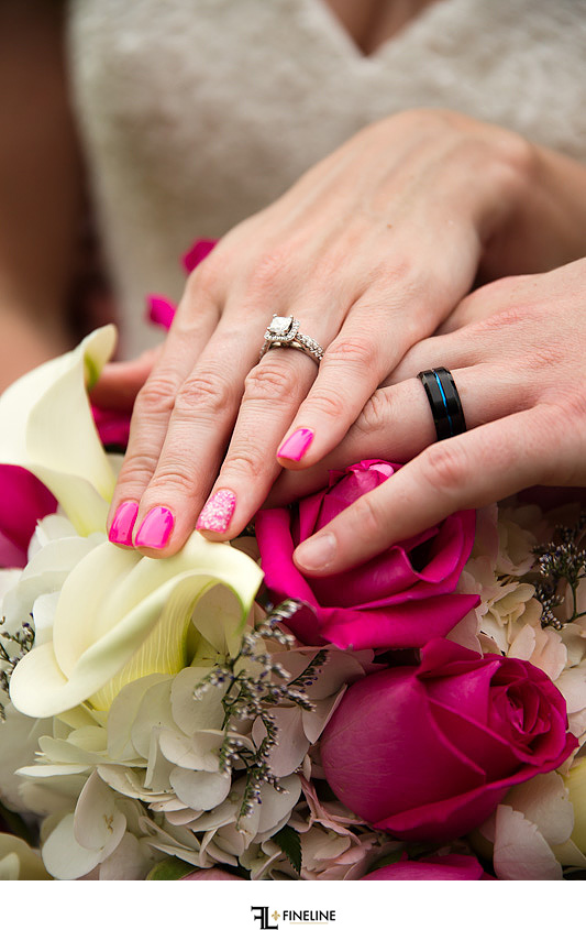 bride and grooms rings Photos by FINELINE Weddings Greensburg PA