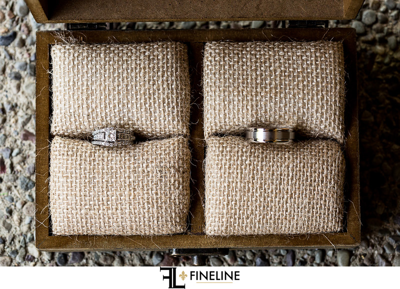 Wedding rings in boxes photo by FINELINE Weddings Greensburg PA