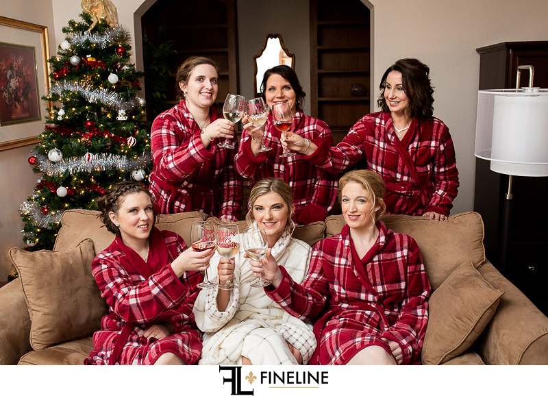 Bride and bridesmaids in robes photo by FINELINE Weddings Greensburg, PA