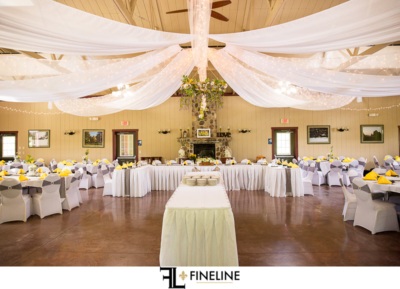 Yellow, White and Green Wedding colors at Foggy Mountain Lodge Wedding photo by FINELINE Weddings Greensburg PA
