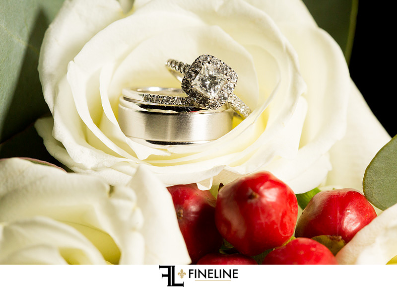 wedding ring in white rose