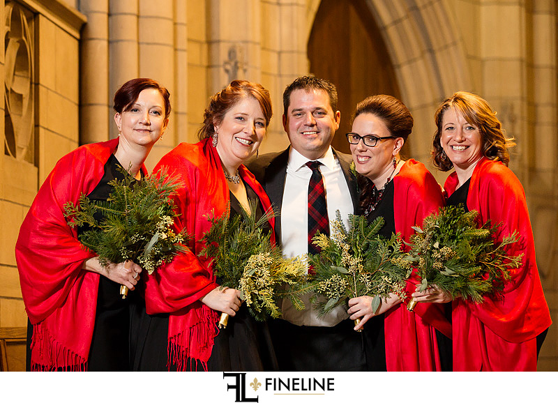 groom with bridesmaids photo by FINELINE Weddings Greensburg, PA