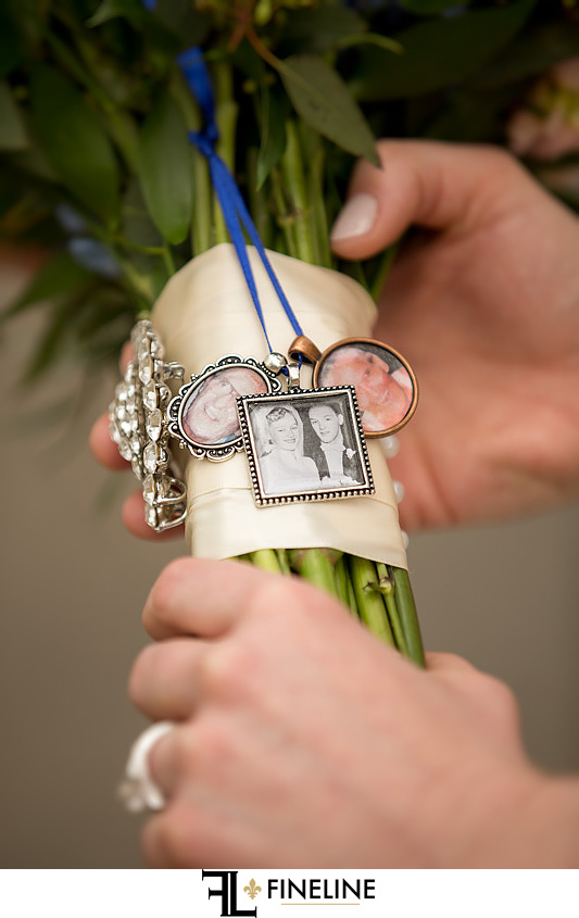 custom charms on brides bouquet photo by FINELINE Weddings Greensburg, PA