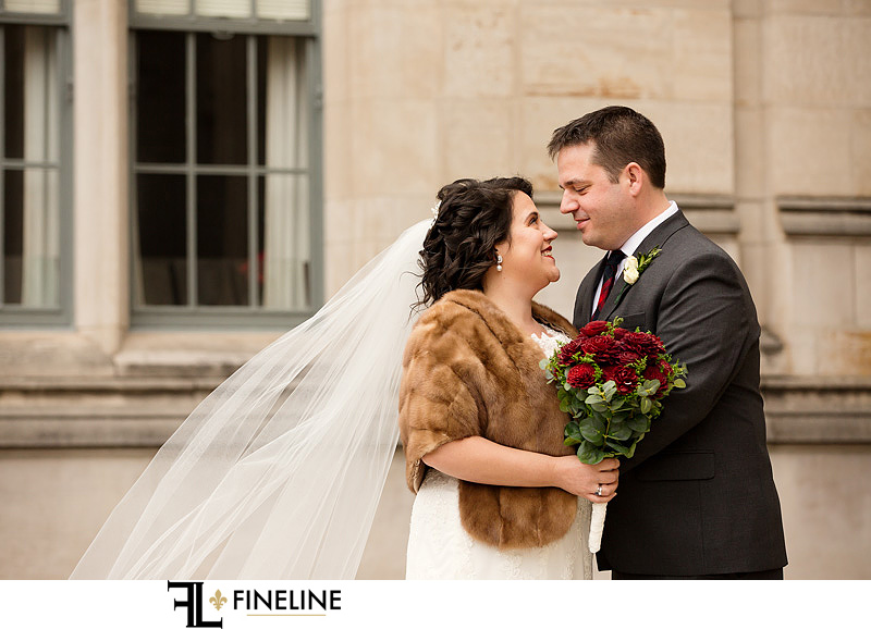 bride with fur photo by FINELINE Weddings Greensburg, PA