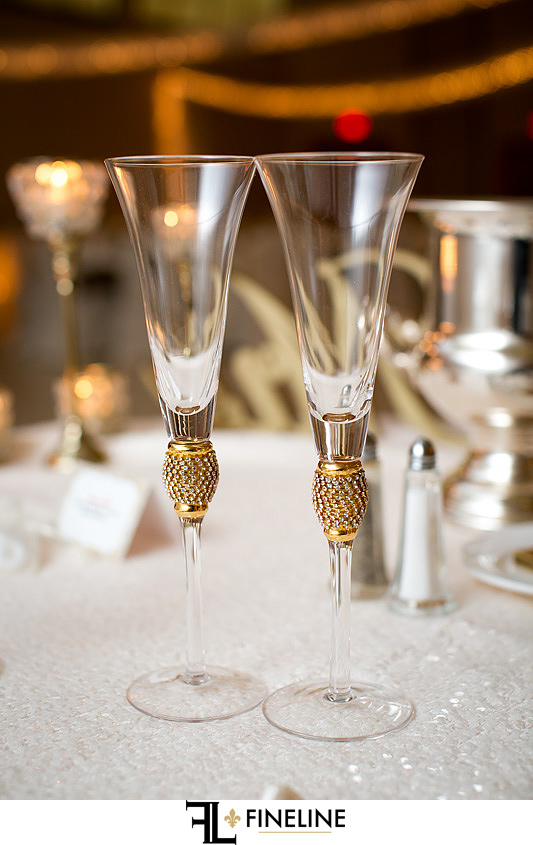 wedding flutes St. John Cathedral Center in Munhall, PA photo by FINELINE Weddings Greensburg, PA